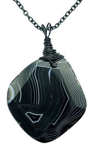 "My Altar Wire Wrapped 3"" Huge B&W Stripe Crystal Gem Pendant & Black Steel 24"" Chain"