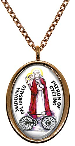 Madonna del Ghisallo Patron of Cycling Rose Gold Stainless Steel Pendant Necklace