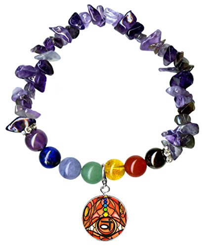 2nd Chakra Eye Charm Stretch Amethyst Gem Stone Bracelet