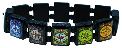 My Altar Voodoo Veve Magic Marie Laveau Sirene Loko Marassa Black Wood Stretch Bracelet
