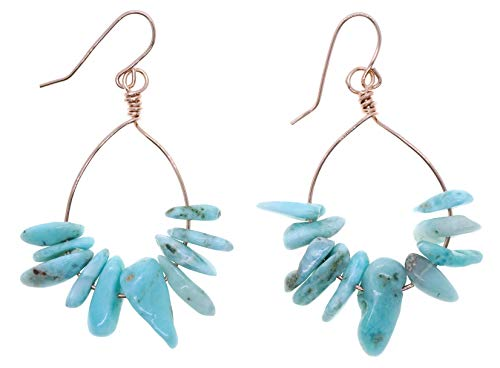 "Genuine Larimar Gemstone 2 1/2"" Long 14k Rose Gold Filled Wire Wrapped Earrings"