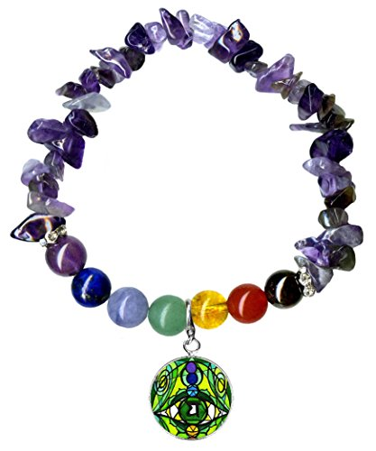 4th Chakra Eye Charm Stretch Amethyst Gem Stone Bracelet