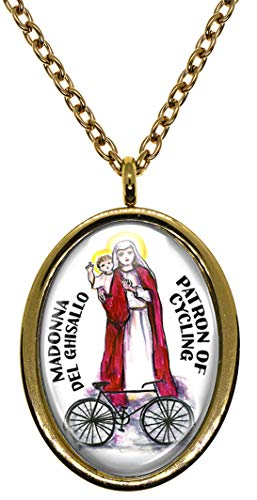 Madonna del Ghisallo Patron of Cycling Gold Stainless Steel Pendant Necklace