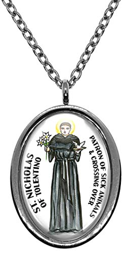 My Altar Saint Nicholas of Tolentino for Sick Animals & Crossing Over Stainless Steel Pendant Necklace