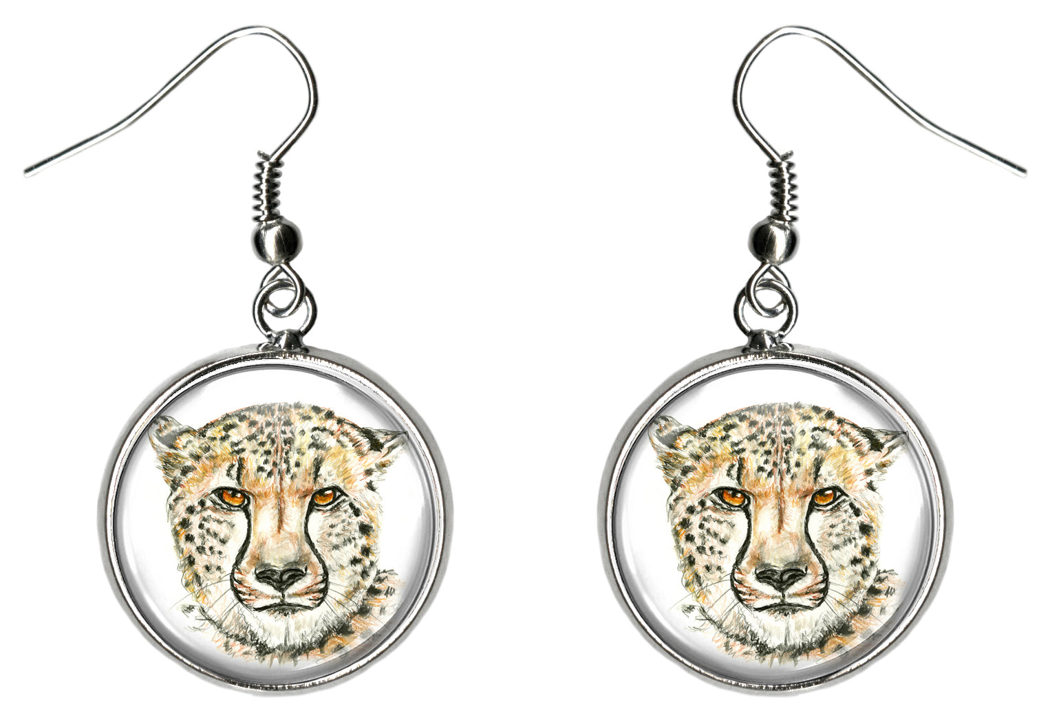Cheetah Silver Hypoallergenic Stainless Steel Earrings