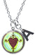 "My Altar Erzulie Dantor Protection Love Voodoo & Initial Charm Steel 24"" Necklace"