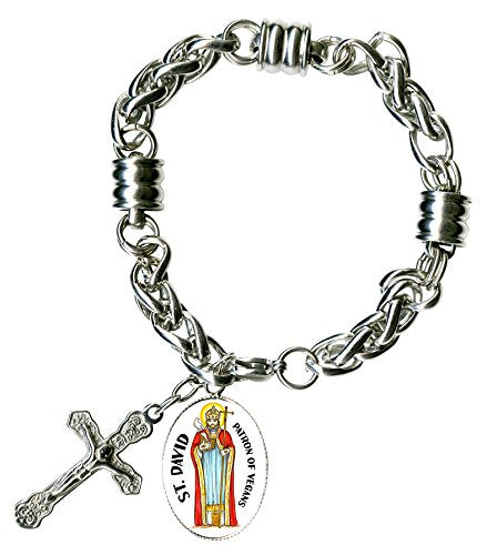 "St David for Vegans Disease Charm & Cross Stainless Steel 7"" to 8"" Bracelet"
