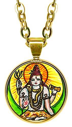"My Altar Lord Shiva Manifestation 5/8"" Mini Stainless Steel Gold Pendant Necklace"