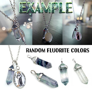 Kundalini Chakra Healer Charm & Fluorite Stone Point Necklace