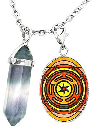 Goddess Hecate's Magic Wheel Charm & Fluorite Stone Point Necklace