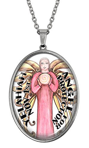 My Altar November Birthday Angel Huge Glass and Steel Necklace Talisman Pendant