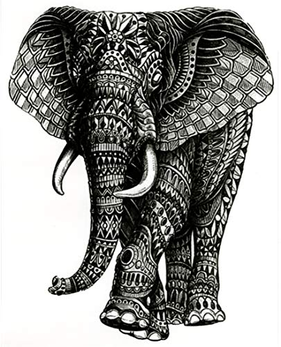 "Elephant Large 5 1/2"" x 7"" Temporary Tattoos 2 Sheets"