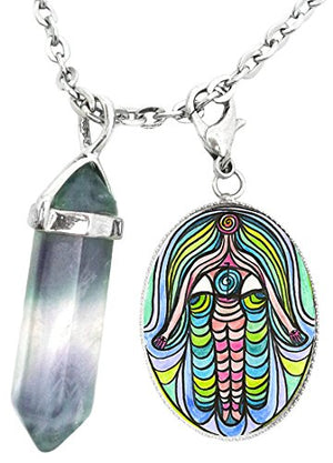 Weight Losss Manifestation Hamsa Charm & Fluorite Stone Point Necklace