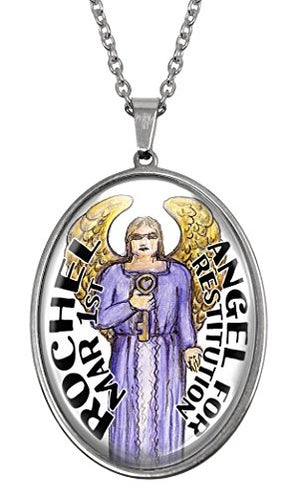 My Altar March Birthday Angel Huge Glass and Steel Necklace Talisman Pendant