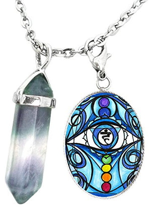 5th Chakra Eye Blue Vishuddha Expression Charm & Fluorite Stone Point Necklace