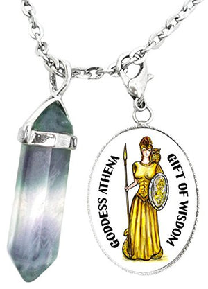 My Altar Goddess Athena for Wisdom Charm & Fluorite Stone Point Necklace