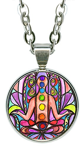 "Chakra Hamsa 5/8"" Mini Stainless Steel Silver Pendant Necklace"