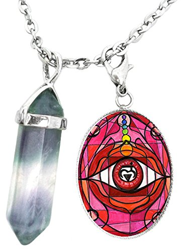1st Chakra Eye Muladhara Red Love Root Charm & Fluorite Stone Point Necklace