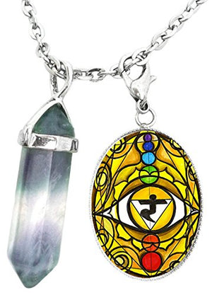 3rd Chakra Eye Yellow Manipura Intuition Charm & Fluorite Stone Point Necklace