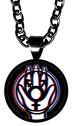 "Transgender Protection Hamsa 5/8"" Mini Stainless Steel Black Pendant Necklace"