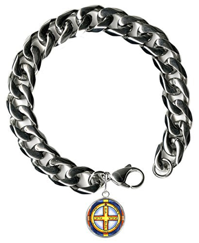 "Solomons Jupiter 6th Protects from Danger 9"" Mens Bracelet 12mm Thick Curb Chain"