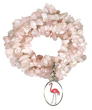 My Altar Pink Flamingo Charm Clip Rose Quartz Gem Wrap Bracelet or Necklace