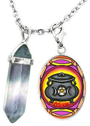 Witches Pentacle Triple Moon Cauldron Charm & Fluorite Stone Point Necklace