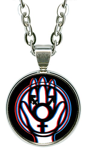 "My Altar Transgender Protection Hamsa 5/8"" Mini Stainless Steel Silver Pendant Necklace"