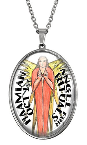 My Altar October Birthday Angel Huge Glass and Steel Necklace Pendant