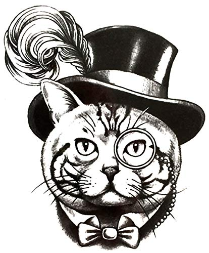 "Large 6"" Cat in a Top Hat Vintage Tuxedo Portrait Conceptual Art Large Black Waterproof Temporary Tattoos 2 Sheets"