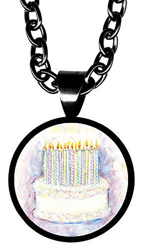 "Birthday Cake 5/8"" Mini Stainless Steel Black Pendant Necklace"