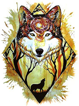 "Wolf Spirit in the Woods Large 5 1/2"" x 8"" Temporary Tattoos 2 Sheets"