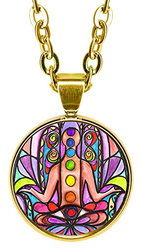 "Chakra Hamsa 5/8"" Mini Stainless Steel Gold Pendant Necklace"