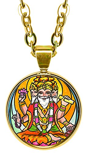 "My Altar Lord Brahma 5/8"" Mini Stainless Steel Gold Pendant Necklace"