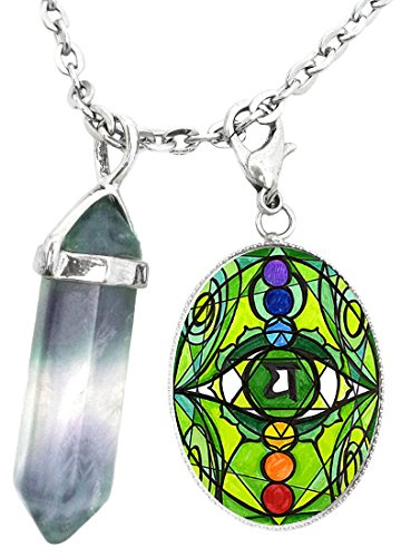 4th Chakra Eye Anahata Heart Charm & Fluorite Stone Point Necklace