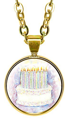 "Birthday Cake 5/8"" Mini Stainless Steel Gold Pendant Necklace"