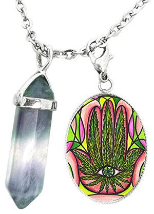 Marijuana Hamsa Charm & Fluorite Stone Point Necklace