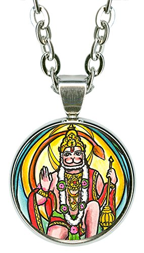 "My Altar Evolved Lord Hanuman 5/8"" Mini Stainless Steel Silver Pendant Necklace"