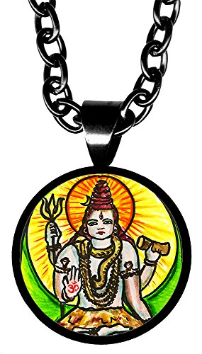 "My Altar Lord Shiva Manifestation 5/8"" Mini Stainless Steel Black Pendant Necklace"