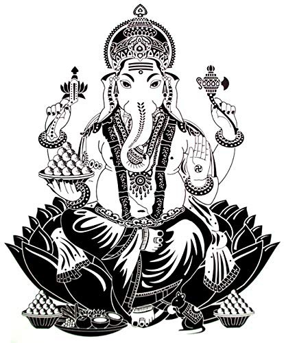 "Large 6"" Lord Ganesh for Karma and Choice Art Black Waterproof Temporary Tattoos 2 Sheets"