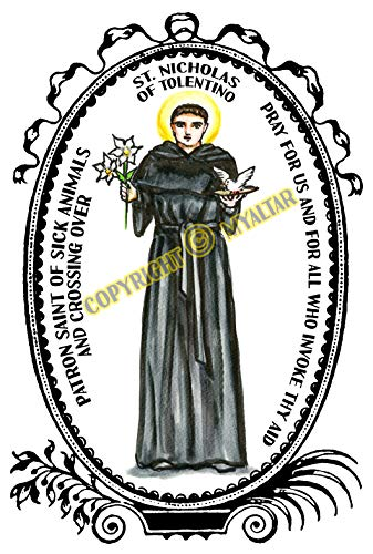 My Altar Saint Nicholas of Tolentino Patron of Sick Animals & Crossing Over Art Print