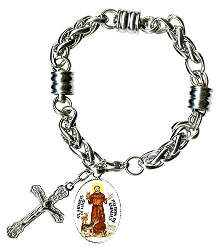 "My Altar St Francis Patron of Animals Charm & Cross Stainless Steel 7"" to 8"" Bracelet"