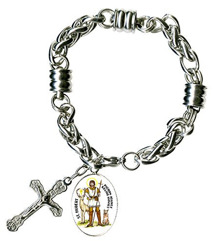 "St Hubert Against Killing Animals Charm & Cross Stainless Steel 7"" to 8"" Bracelet"