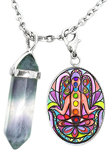 My Altar Chakra Hamsa Charm & Fluorite Stone Point Necklace