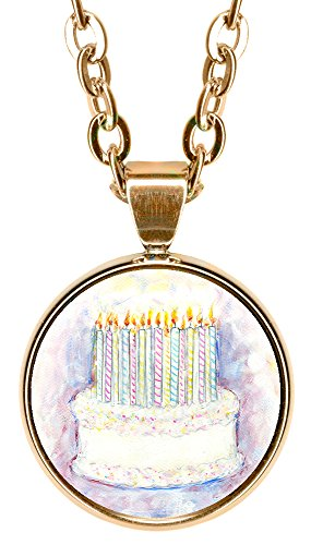 "Birthday Cake 5/8"" Mini Stainless Steel Rose Gold Pendant Necklace"