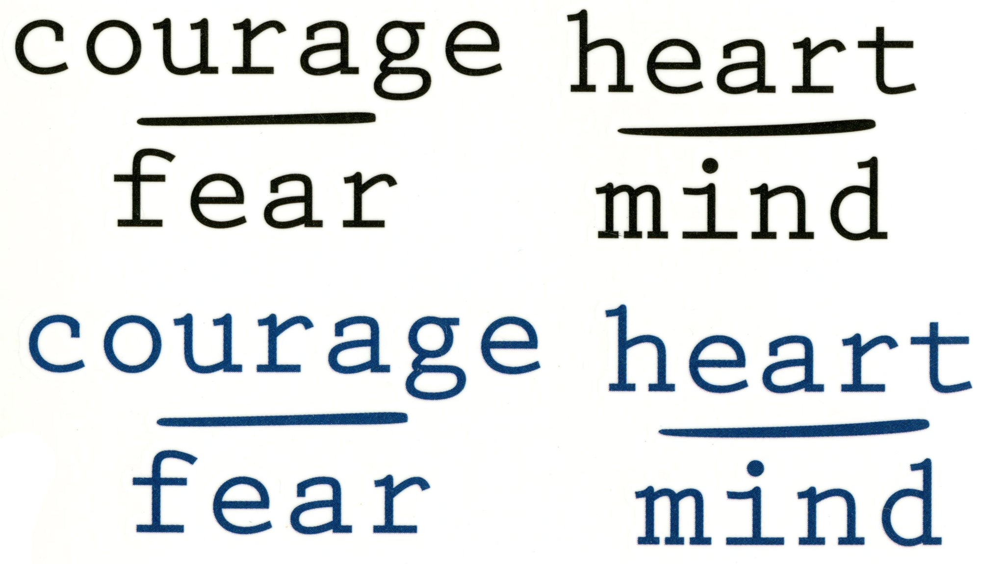 Courage over Fear and Heart over Mind Script Words Waterproof Temporary Tattoos 2 Sheets