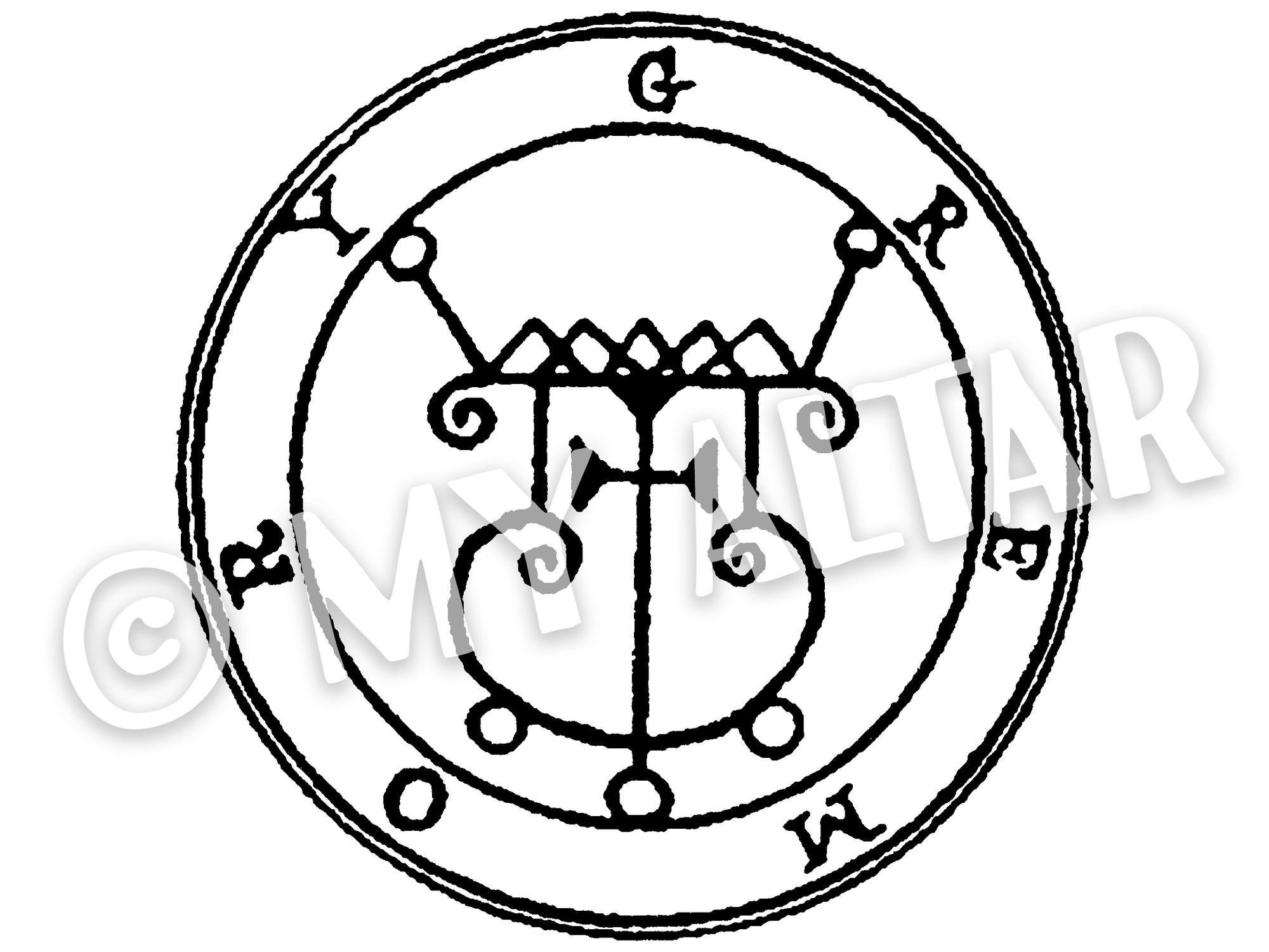 "Set of 2 Large 5"" Gremory 56th Lesser Seal Goetia Solomon Invocation Sigil Waterproof Temporary Tattoos"
