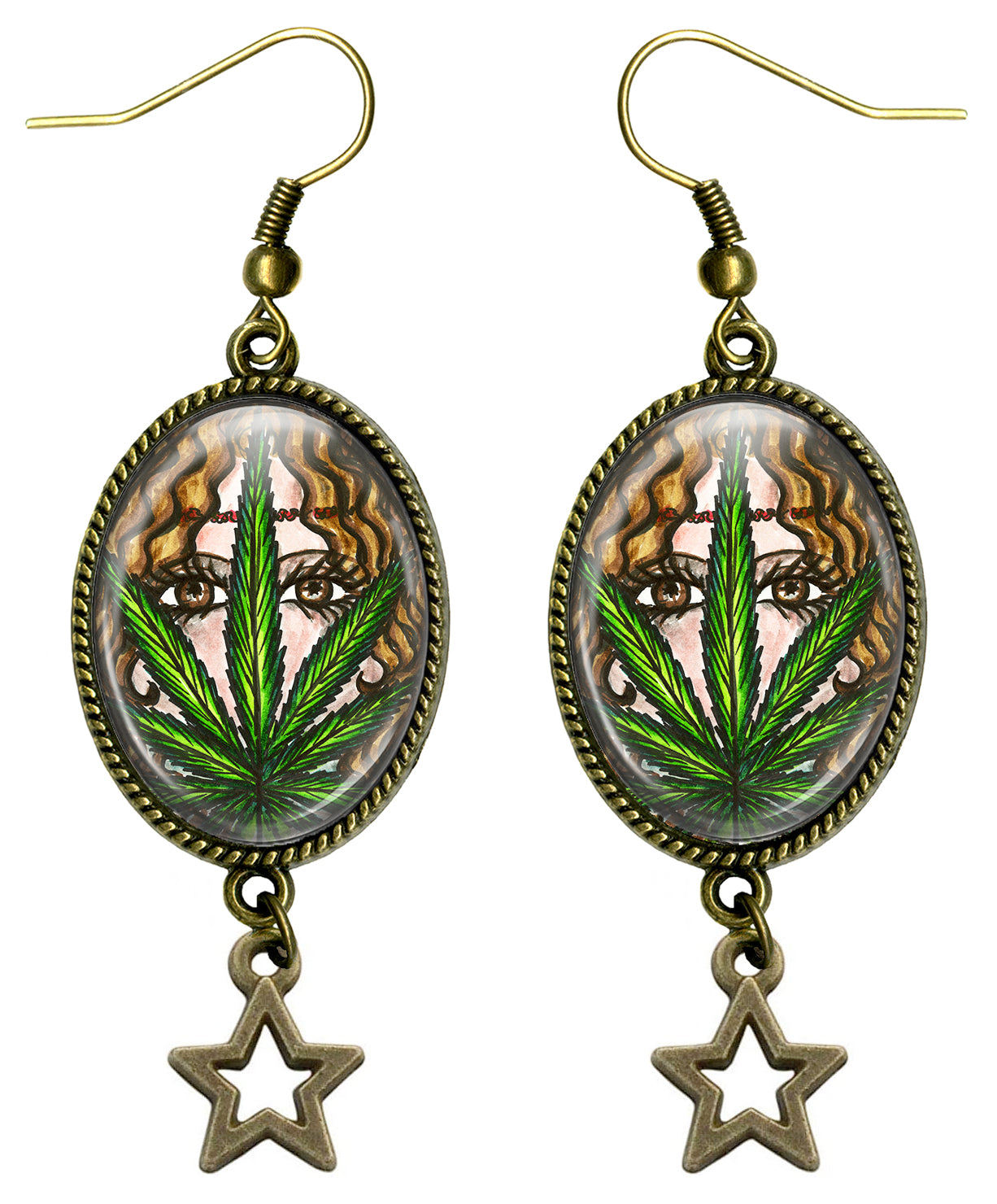 Boho Hemp Marijuana Hippie Chick Glass Dome Gold Bronze Dangling Star Earrings
