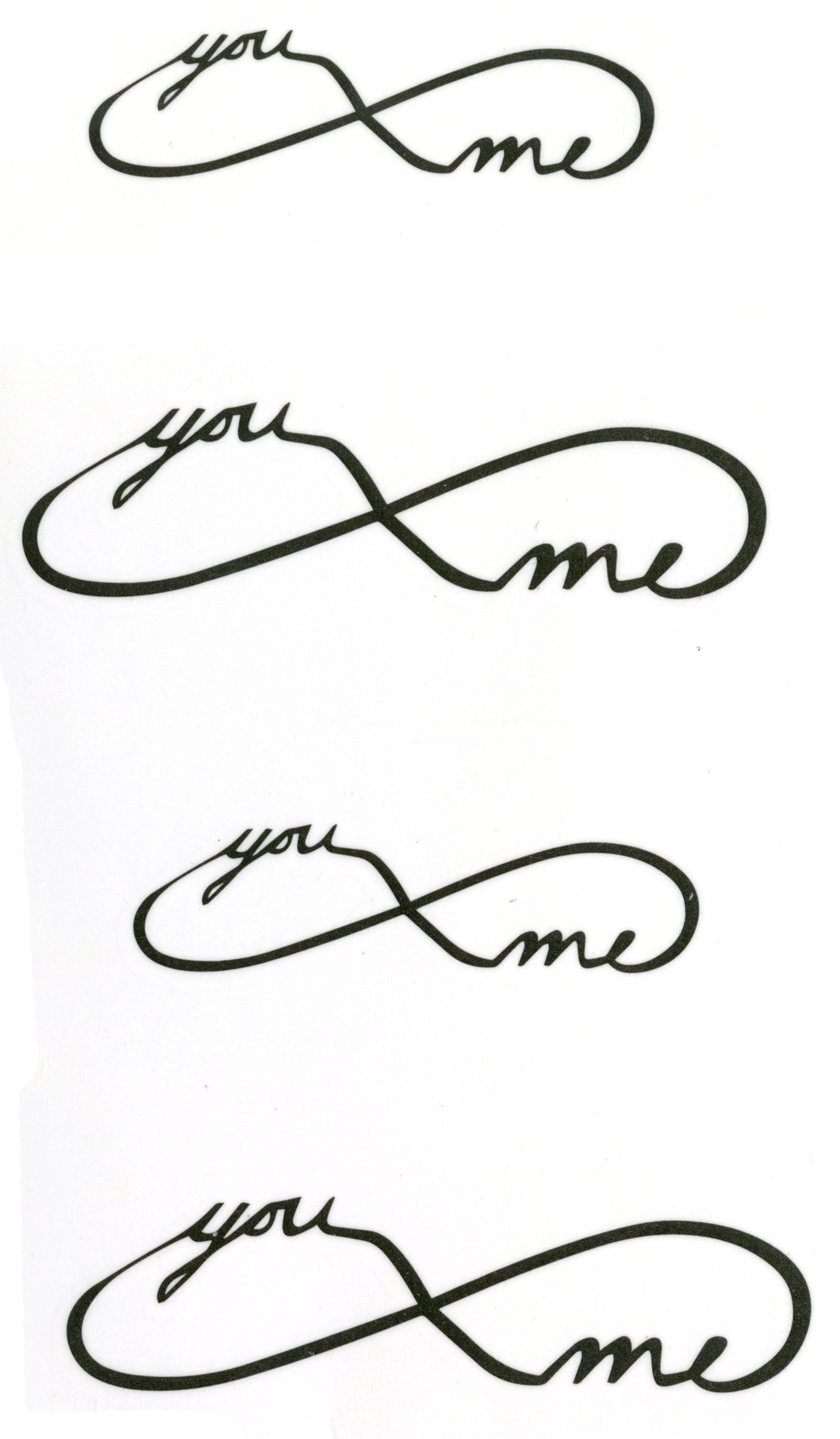 You Me Infinity Waterproof Temporary Tattoos 2 Sheets
