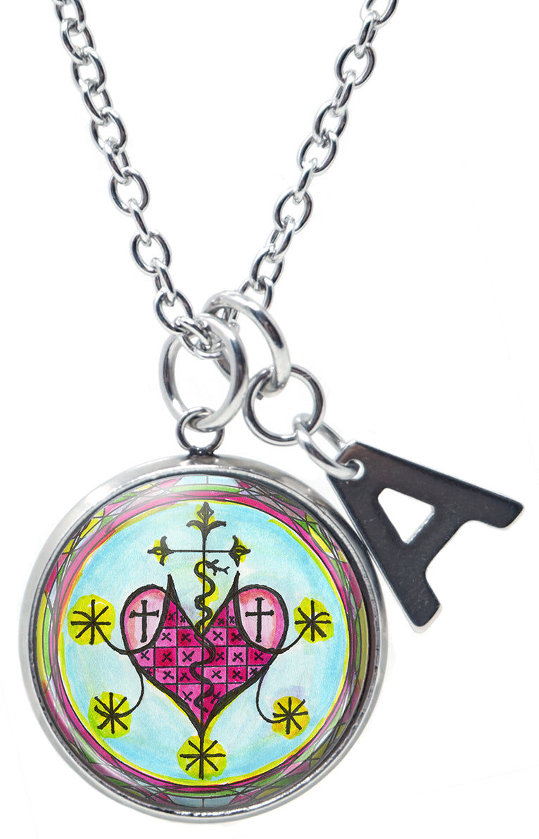 "My Altar Marie Laveau Love Healing Voodoo Queen & Initial Charm Steel 24"" Necklace"